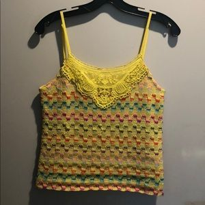 Free People Yellow multi color knit tank
